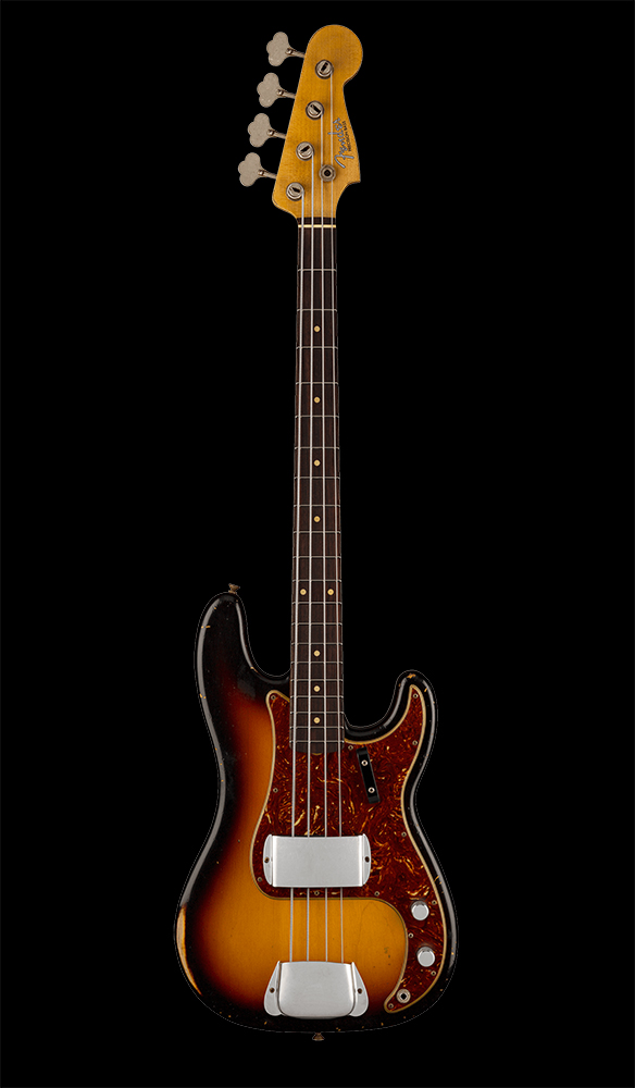 08 1961 Precision Bass® Relic®, Maple Fingerboard, 3-Color Sunburst Front