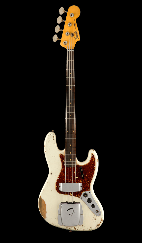 11 1961 Jazz Bass® Heavy Relic®, Rosewood Fingerboard, Aged Olympic White Front