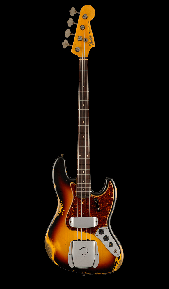 10 1961 Jazz Bass® Heavy Relic®, Rosewood Fingerboard, 3-Color Sunburst Front