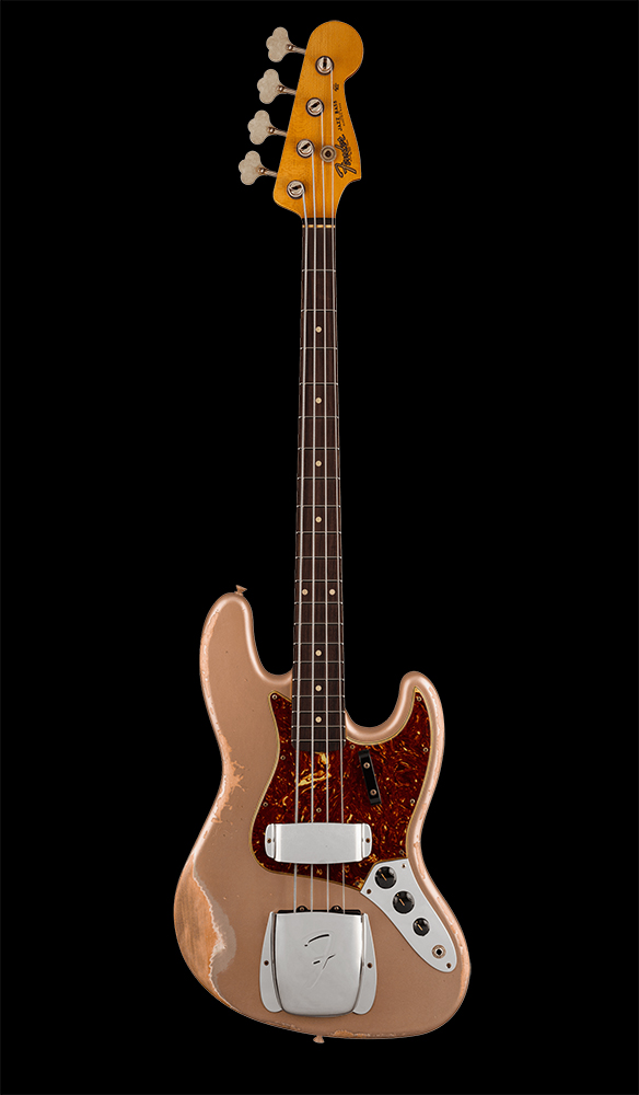 12 1961 Jazz Bass® Heavy Relic®, Rosewood Fingerboard, Aged Shoreline Gold Front
