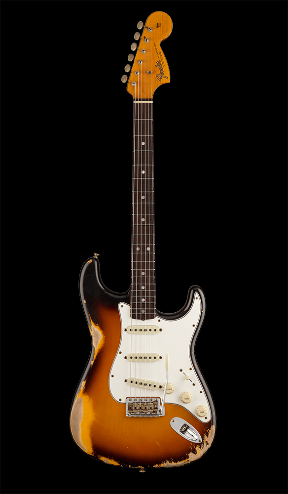 08 67 Stratocaster® Heavy Relic®, Rosewood Fingerboard, Faded Aged 3-Color Sunburst Front