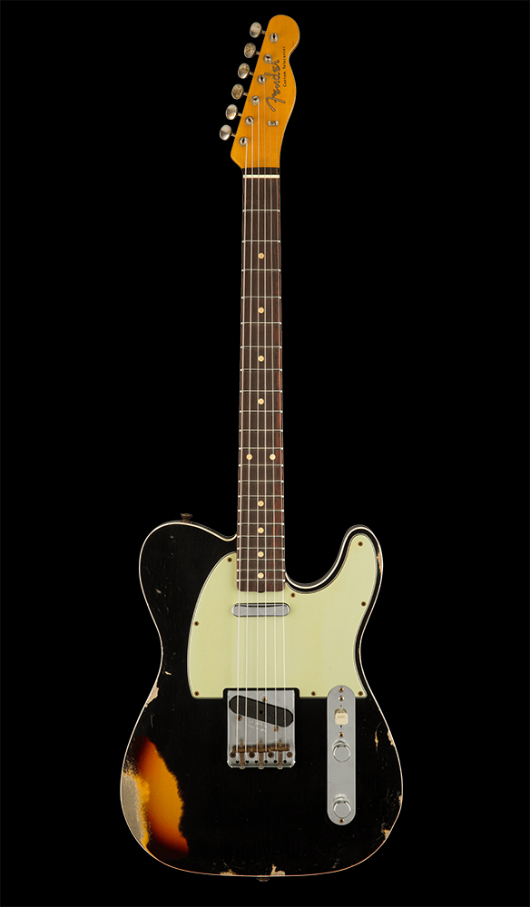 42 1960 Telecaster® Custom Heavy Relic®, Rosewood Fingerboard, Aged Black over Chocolate 3-Color Sunburst Front