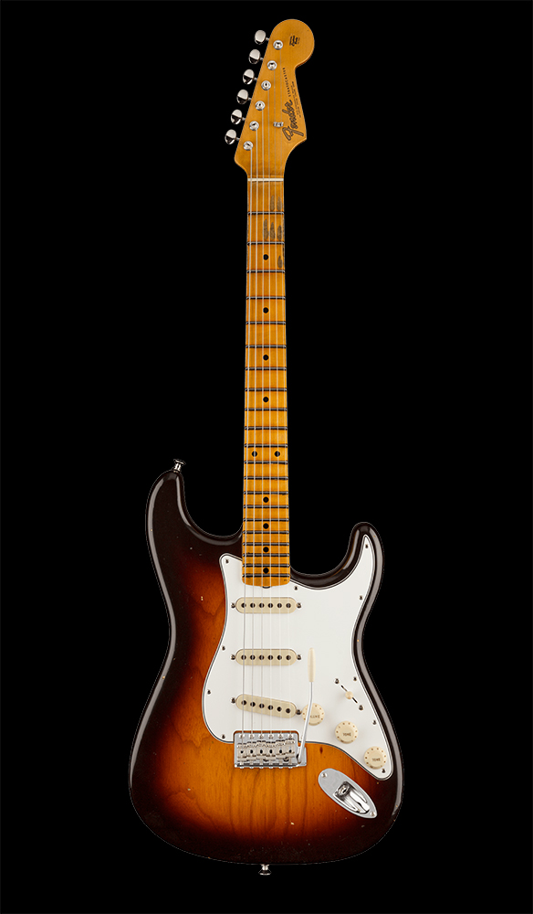 45 Postmodern Stratocaster® Journeyman Relic® with Closet Classic Hardware, Maple Fingerboard, Wide-Fade Chocolate 2-Color Sunburst Front
