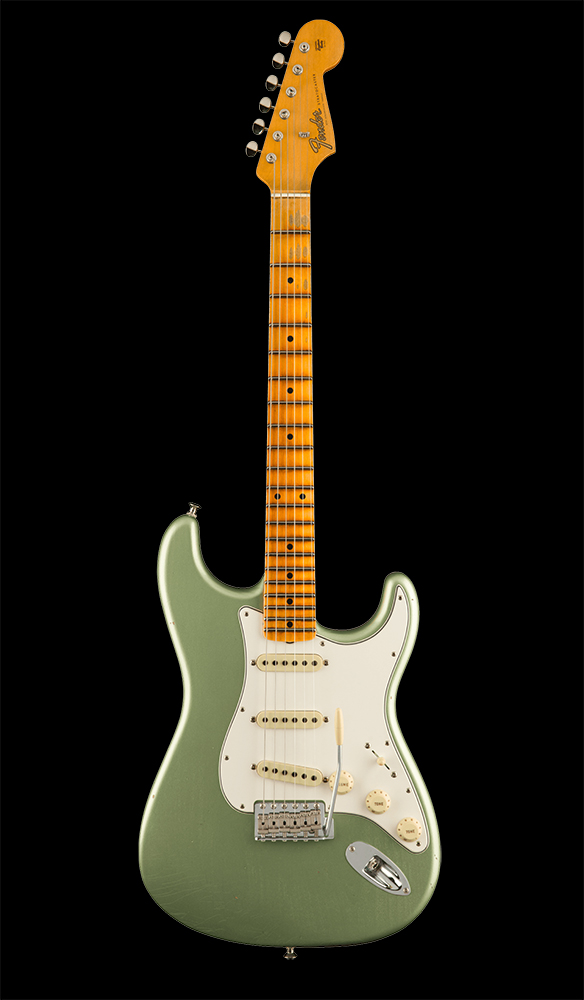 47 Postmodern Stratocaster® Journeyman Relic® with Closet Classic Hardware, Maple Fingerboard, Faded Aged Sage Green Metallic Front